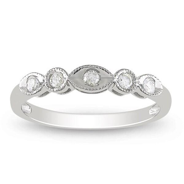 Miadora 10k White Gold 1/6ct TDW Round-cut Diamond 5-stone Anniversary Ring