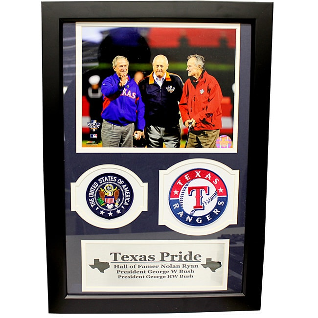 Former Presidents George W. Bush and George H.W. Bush with Nolan Ryan Double Patch Frame - Thumbnail 0