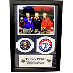 Former Presidents George W. Bush and George H.W. Bush with Nolan Ryan Double Patch Frame