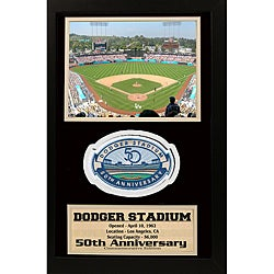 Dodger Stadium '50th Anniversary' Patch Frame