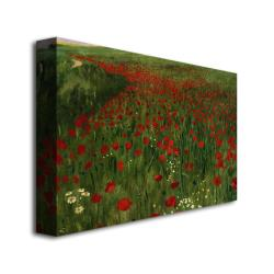 Pal Szinyei Merse 'The Poppy Feild, 1896' Canvas Art - Thumbnail 1