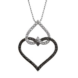 Victoria Kay Silver 1/6ct TDW White and Black Diamond Heart Necklace (J-K, I2-I3)