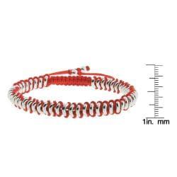 Eternally Haute Silverplated Round Link Macrame Friendship Bracelet