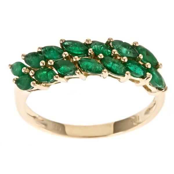 Shop D Yach 10k Yellow Gold Zambian Emerald Ring Free