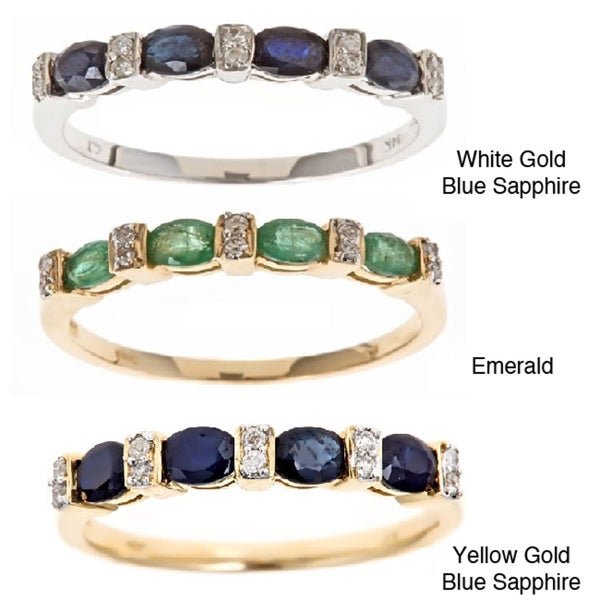 Anika and August 14k Gold Blue Sapphire/ Zambian Emerald and Diamond Ring