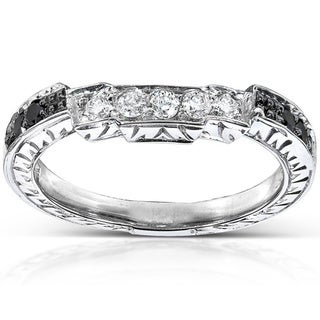 Annello by Kobelli 14k Gold 1/4ct TDW Black and White Diamond Curved Wedding Band (H-I, I