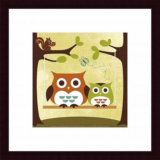Nancy Lee 'Two Owls on Swing' Framed Print