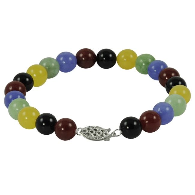 Gems For You Sterling Silver Multi Colored Jade Bracelet