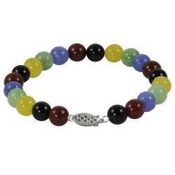 Gems For You Sterling Silver Multi-colored Jade Bracelet