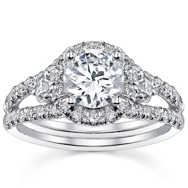 18k White Gold 2ct TDW Round Split Shank Halo Diamond Engagement Ring