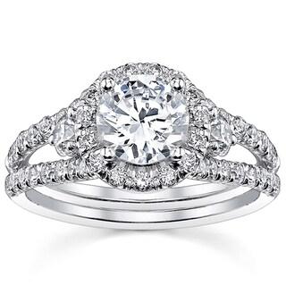 18k White Gold 2ct TDW Round Split Shank Halo Diamond Engagement Ring