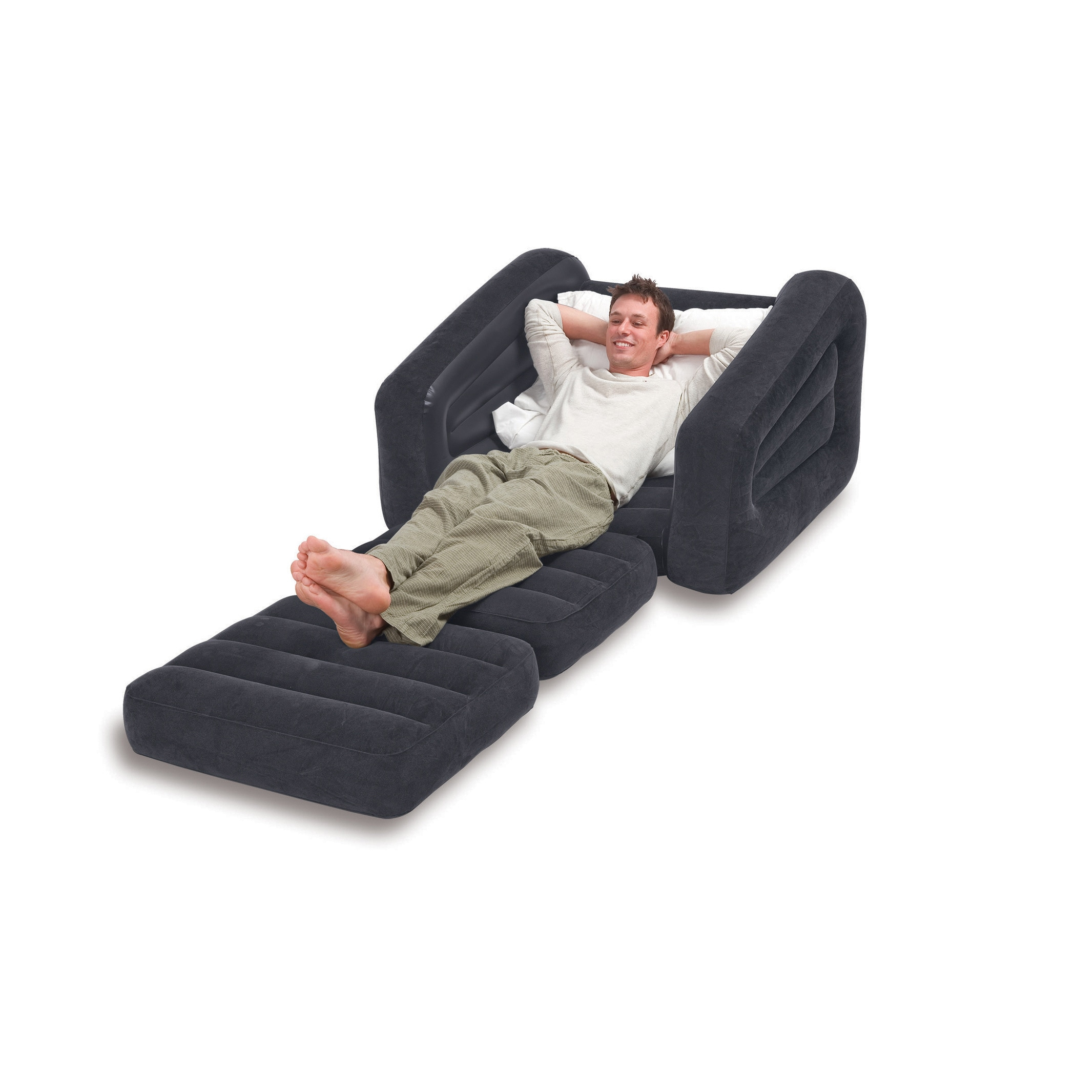 Inflatable Air Chair with Pull Out Twin Bed Mattress Sleeper Gray Intex New