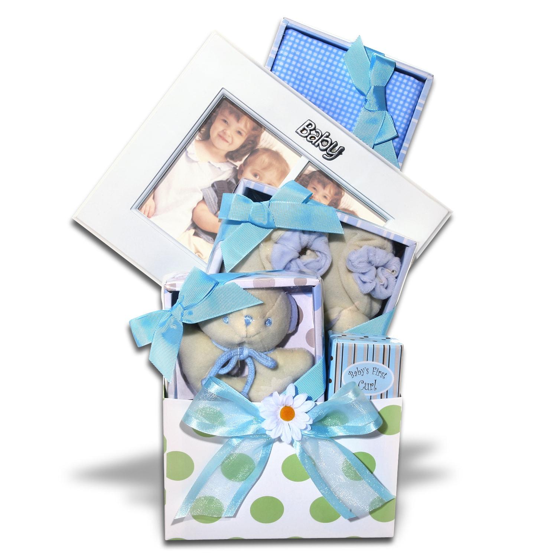 Five-piece Alder Creek Gifts Keepsake Baby Boy Gift Basket in Blue