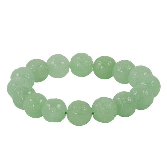 Gems For You Carved Dragon Jade Bead Stretch Bracelet