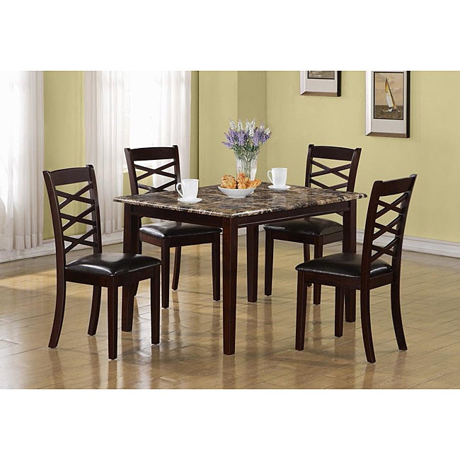 Dark Cherry Marble Veneer 5-piece Dining Set