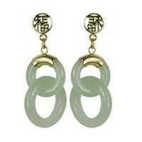 Gems For You 14k Yellow Gold Jadeite Circle Earrings