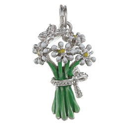 La Preciosa Sterling Silver Enamel and CZ Bouquet and Butterfly Charm