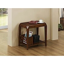 Brown Oak Veneer Magazine Table