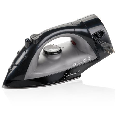 Continental Electric Non-Stick Iron with Retractable Cord Black