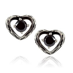 Stainless Steel Black Cubic Zirconia Vintage Heart Stud Earrings