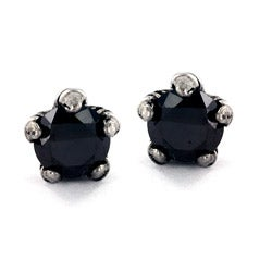 Stainless Steel Black Cubic Zirconia Eagle Claw Stud Earrings