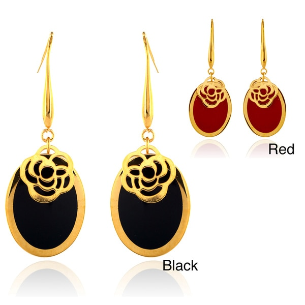 Goldplated Stainless Steel Resin Inlay Dangle Earrings