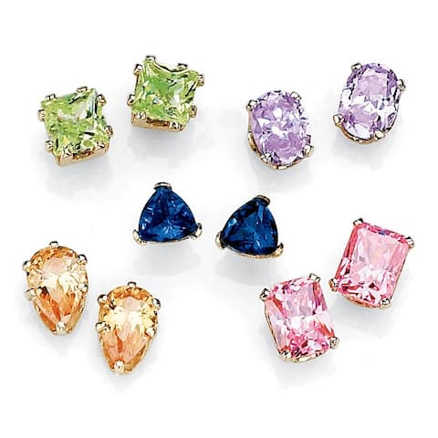11.42 TCW Cubic Zirconia Five-Pair Multicolor Set of Stud Earrings in Yellow Gold Tone Col