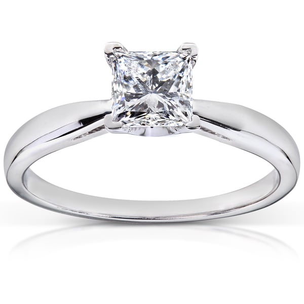 Annello by Kobelli 14k White Gold 3/4 ct TDW Diamond Solitaire Engagement Ring (H-I, I1-I