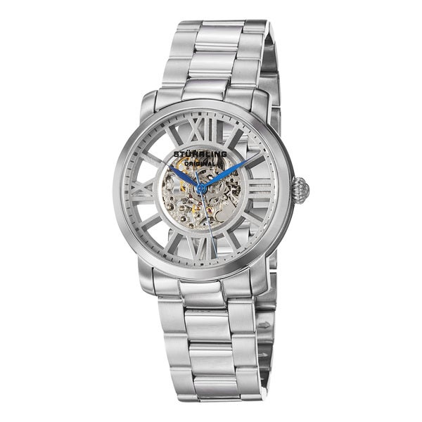 Stuhrling Original Men's Winchester Decorum Stainless Steel Skeleton Bracelet Watch