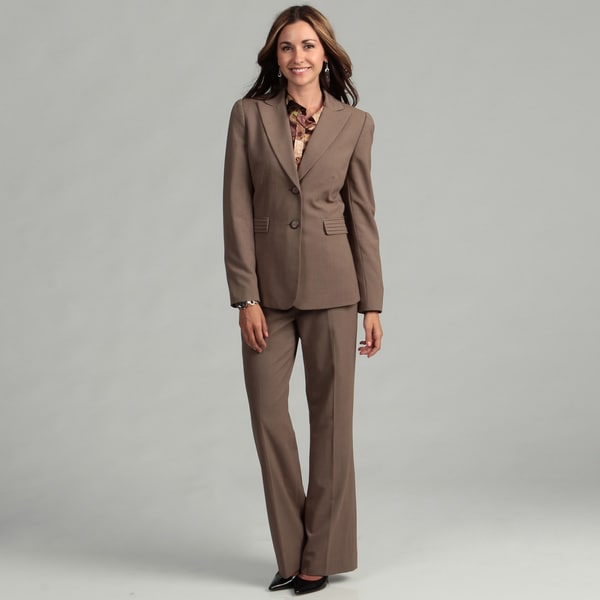 Tahari Women's Coffee/ White 2-button Pant Suit
