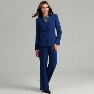 Tahari Women's Royal Blue 3-button Pant Suit