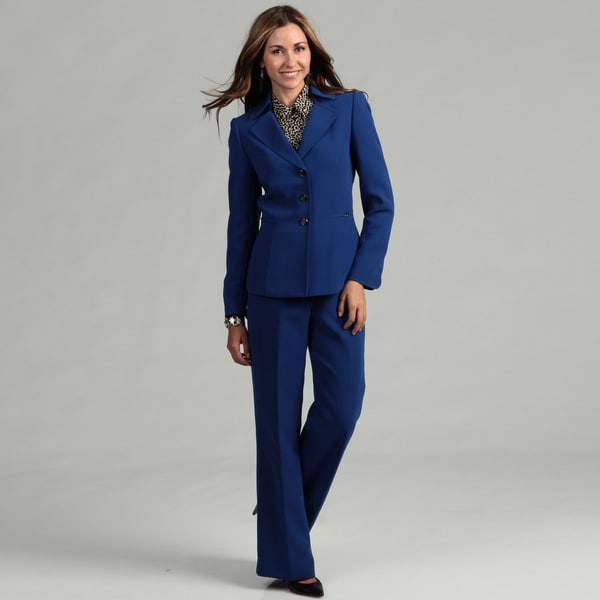 Tahari Women's Royal Blue 3-button Pant Suit - Free Shipping Today ...