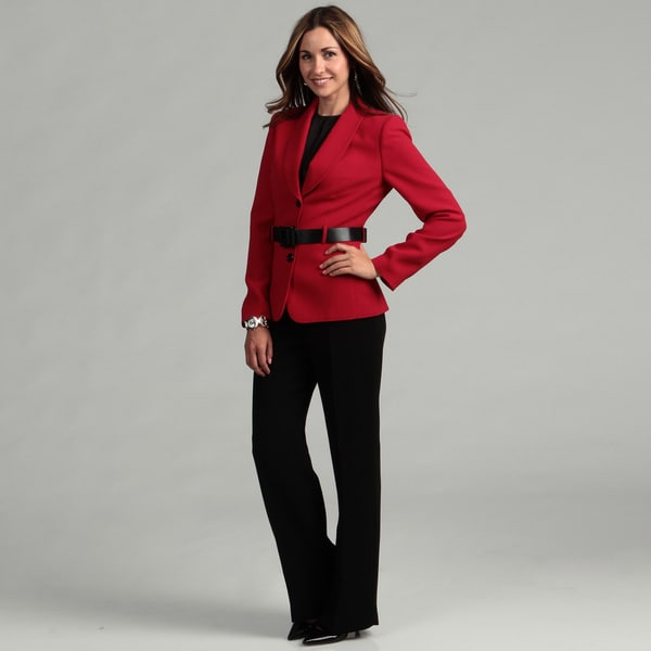 Tahari Women's Red/ Black Belted Jacket Pant Suit