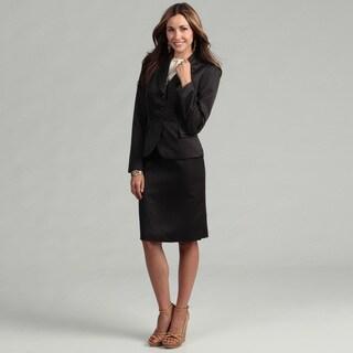 Tahari Women's Black/ White Pin Dot Ruffle Skirt Suit