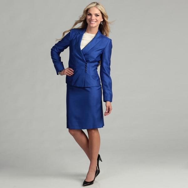 Tahari Women's Cobalt Beaded Detail Skirt Suit