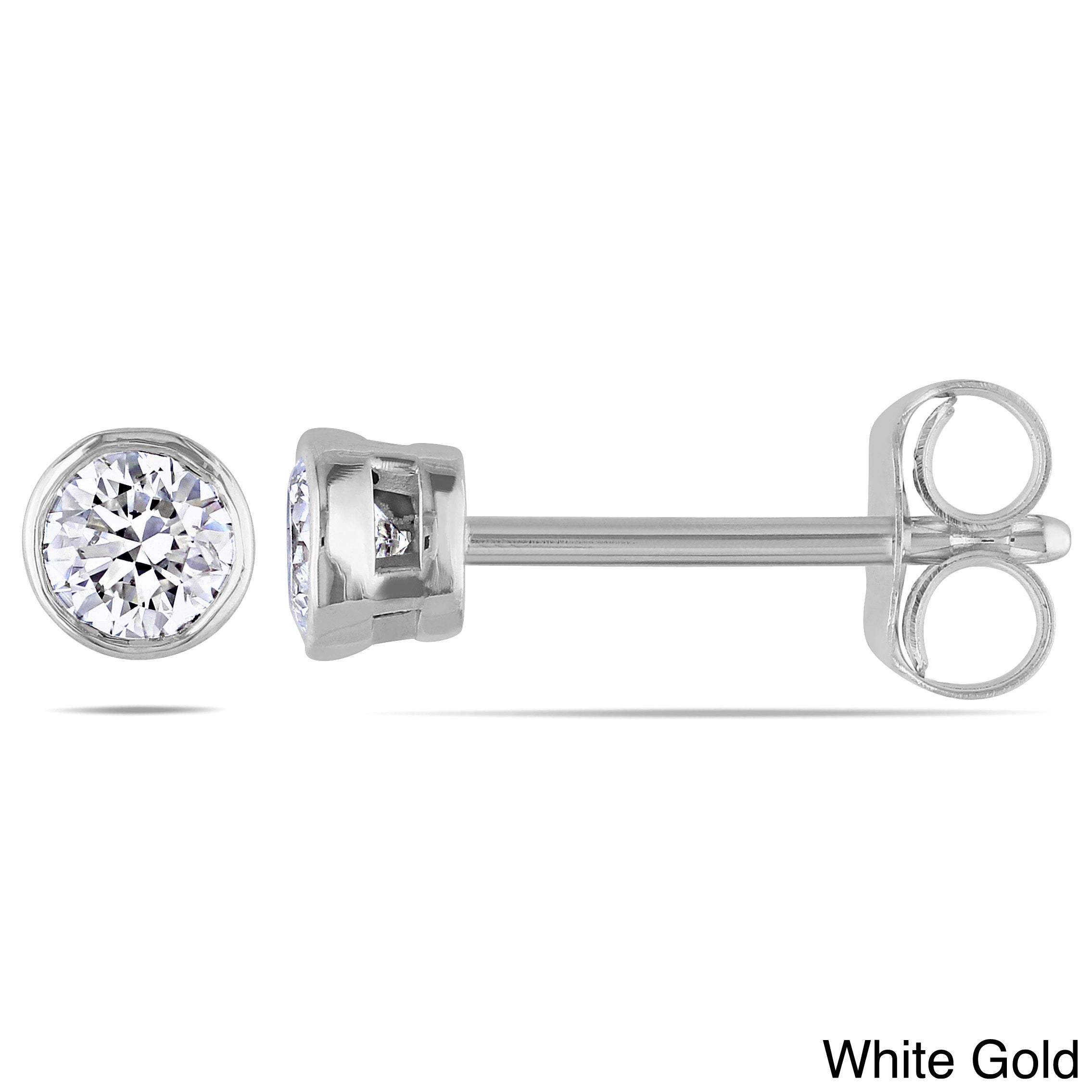 e057ed532 Shop Miadora 14k Gold 1/4ct TDW Bezel-set Diamond Solitaire Stud Earrings -  Free Shipping Today - Overstock - 6613627
