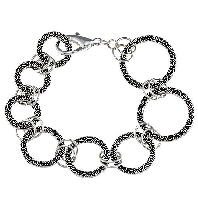 Lola's Jewelry Pewter Spiral Design Graduated Ring Link Bracelet