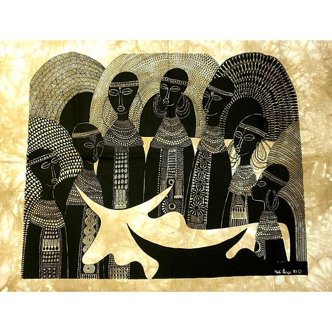 Heidi Lange 'Rift valley Manyatta' Unframed Batik Cotton Screen Print (Kenya)