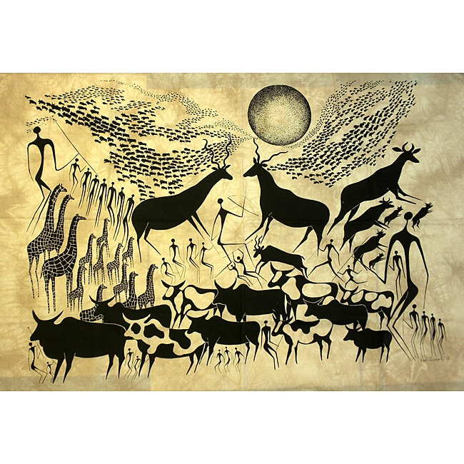 Heidi Lange 'Migration 1' Unframed Batik Cotton Screen Print (Kenya)