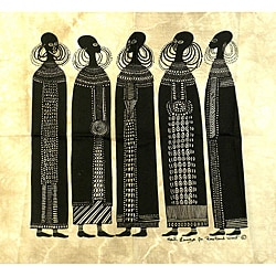 Heidi Lange 'Maasai Women' Unframed Batik Cotton Screen Print (Kenya)