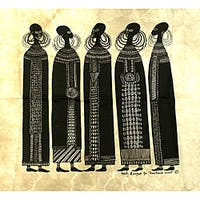 Handmade Heidi Lange 'Maasai Women' Unframed Batik Cotton Screen Print (Kenya)