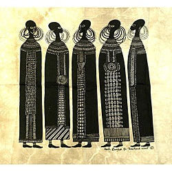 Handmade Heidi Lange 'Maasai Women' Unframed Batik Cotton Screen Print (Kenya)