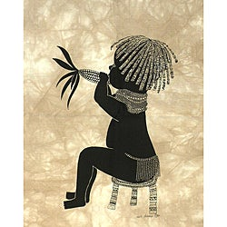 Heidi Lange 'Maina' Unframed Batik Cotton Screen Print  , Handmade in Kenya