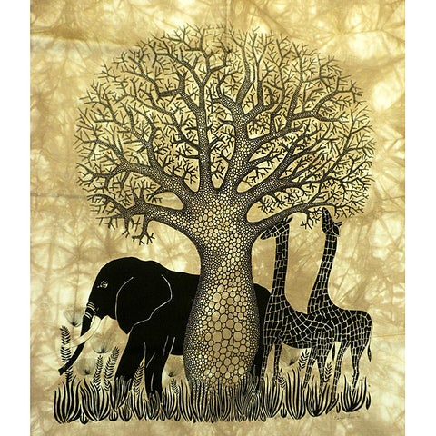 Handmade Heidi Lange 'Tsavo' Unframed Batik Cotton Screen Print (Kenya)