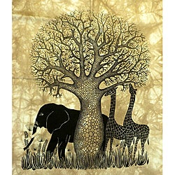 Heidi Lange 'Tsavo' Unframed Batik Cotton Screen Print (Kenya)
