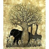Handmade Heidi Lange 'Tsavo' Unframed Batik Cotton Screen Print (Kenya)