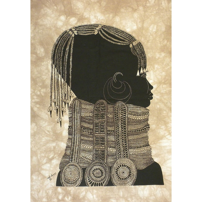 Handmade Heidi Lange 'Girl with Necklace' Unframed Batik Cotton Screen Print (Kenya)