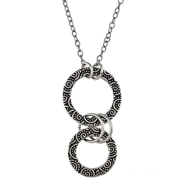 Lola's Jewelry Pewter Spiral Design Graduated Circle Necklace