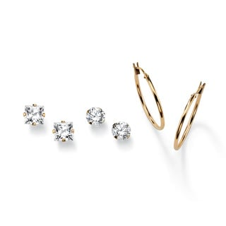 PalmBeach 4.20 TCW Round and Princess-Cut Cubic Zirconia 10k Yellow Gold Stud Earrings 3-Pairs Set Classic CZ