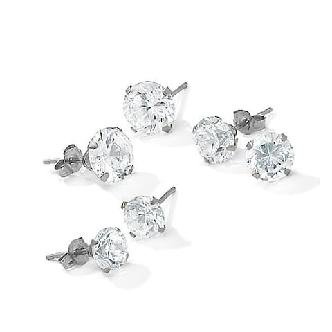 5.15 TCW Round Cubic Zirconia 10k White Gold Stud 3-Pairs Earrings Set Classic CZ